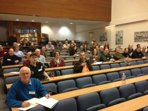 Just before the start, in the lecture theatre.