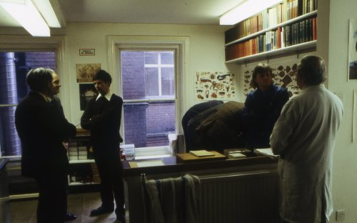 Left to right: My father Alfred W. Jones (back towards the camera), A.A. Allen (just peeking out), Peter Hodge (arms crossed), Mark Colville and Eric Philp. Not sure who are the three bods stooping over a display at the back of the room.
