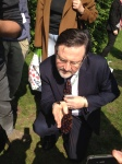 Barry Gardiner, honorable member for Brent North, and Shadow Environment Minster, gets lessons in bumblebee wrangling. A useful skill for any MP, I would have thought.