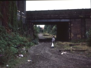 Disused railway line, Poplar, 6 August 1984.